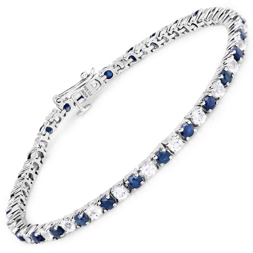 Sterling Silver Sapphire and White Topaz bracelet