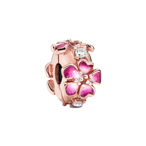 Sterling Silver Rose Gold Floral Bead Charm