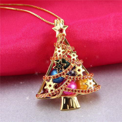 Sterling Silver Christmas tree pendant coated with yellow gold