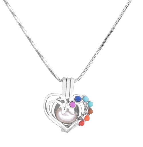 heart pendant with colored stones