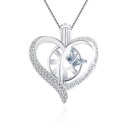 Sterling Silver Heart w/ CZ Butterfly Pendant
