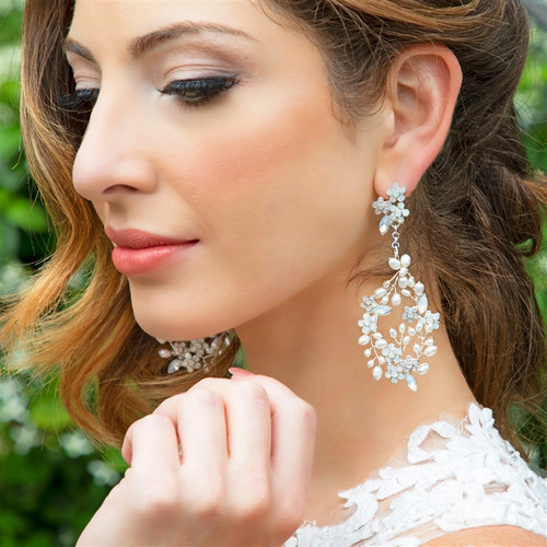 Freshwater Pearl and Opal Earrings