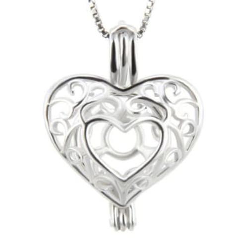 Double Heart cage pendant