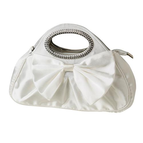 Cream Satin Evening Bag With Rhinestone Handles