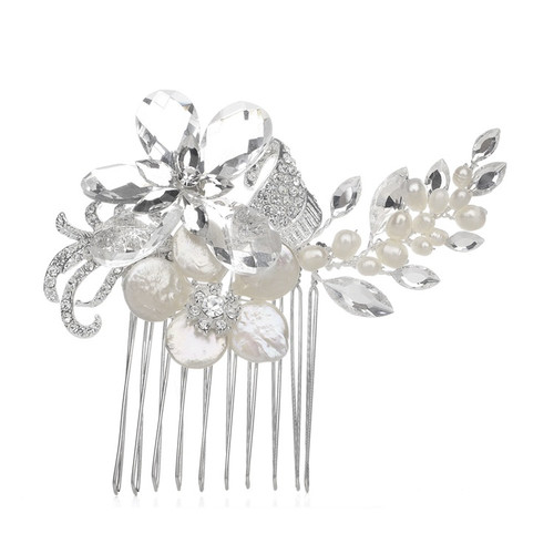 Crystal Bridal Comb with Freshwater Pearls