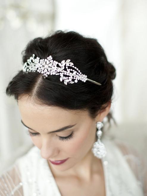 Crystal Bridal Headband with Vintage Art Deco Floral Design