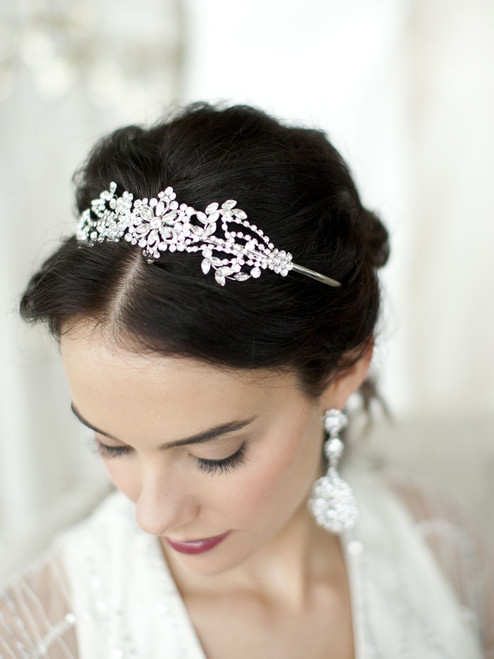 Crystal Bridal Headband with Vintage Art Deco Floral Design
