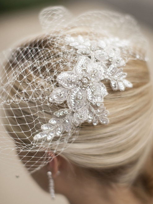 Crystal Ivory Lace Applique Wedding Veil with French Net Birdcage Blusher & Scattered Crystal Edge