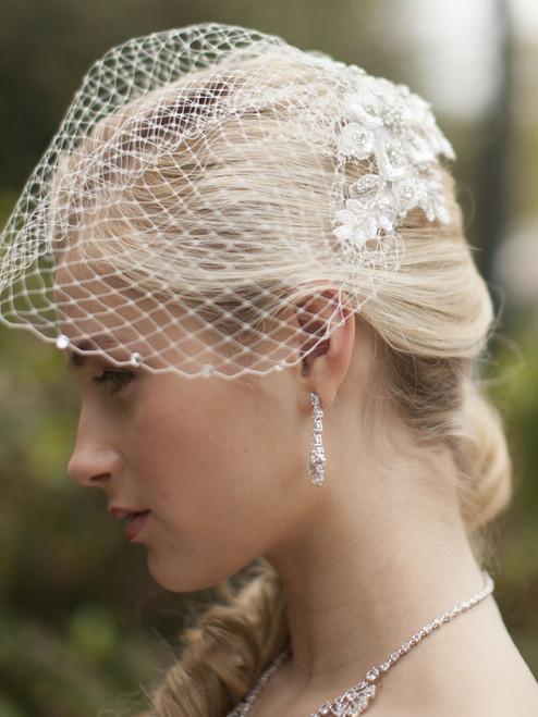 Crystal white lace bridal veil