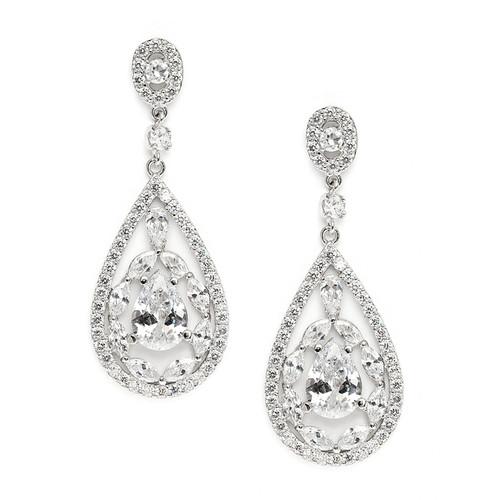 Cubic Zirconia Mosaic Teardrop Bridal, Prom or Wedding Earrings