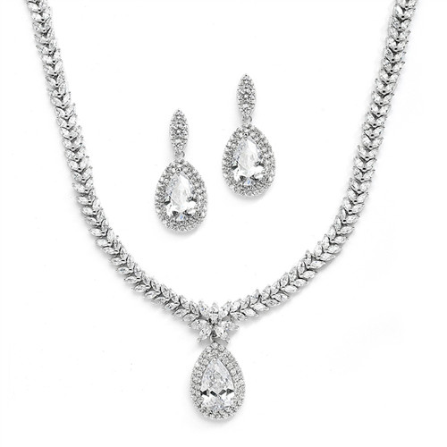 CZ Bridal Drop Necklace and Earrings Set