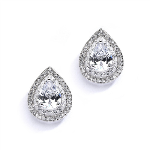 Designer Micro Pave Cubic Zirconia Bridal Earrings