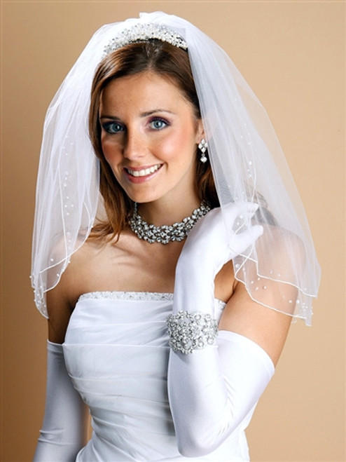 Double Layer Bridal Veil w/Scattered Pearls & Sequins