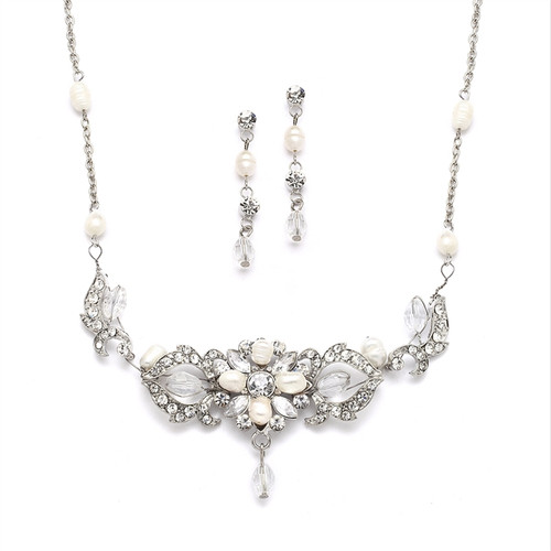 pearl and crystal wedding necklace and earrings set