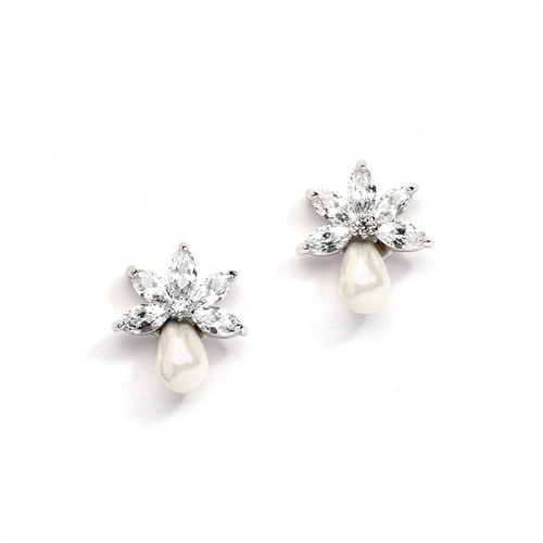 Marquis Bridal Earrings w/Freshwater Pearls & CZ Stones