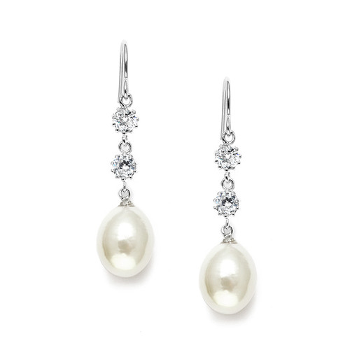 pearl and zirconia wedding earrings
