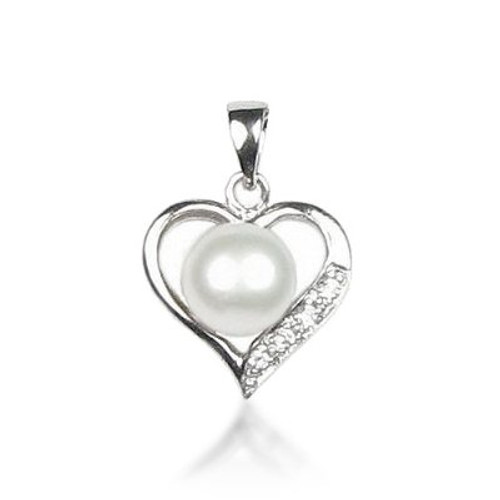 Freshwater Pearl Heart Pendant w/Sterling Silver Accents