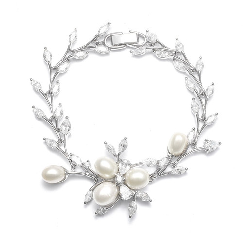Pearls and CZ Leaves Bracelet
