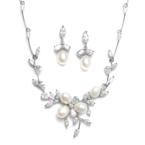 Freshwater Pearls in CZ Leaves Necklace Set
