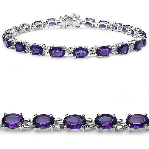 Genuine Amethyst Sterling Silver Tennis Bracelet