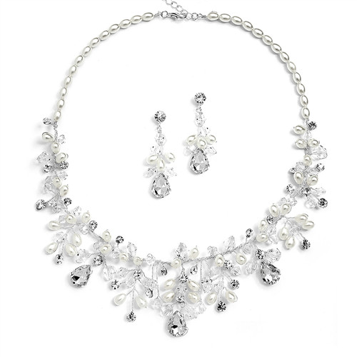 crystal and pearls handmade bridal necklace and earrings set