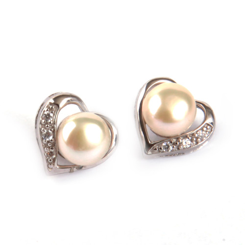 Heart Shaped Freshwater Pearl Stud Earrings w/ Cubic Zirconia Accents