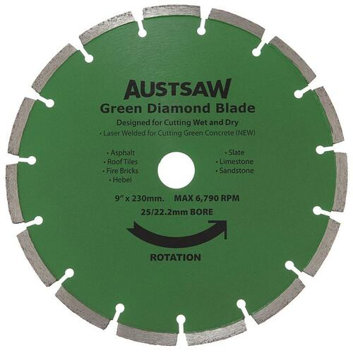 Diamond Blade 25/22.2mm Bore Austsaw 230mm (9in) Green Concrete