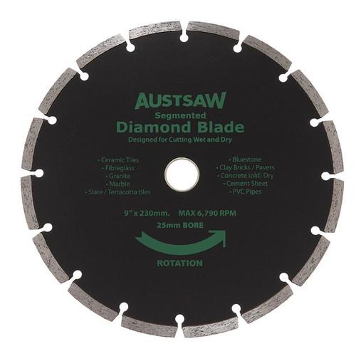 Diamond Blade 25/22.2mm Bore Austsaw 230mm (9in) Segmented