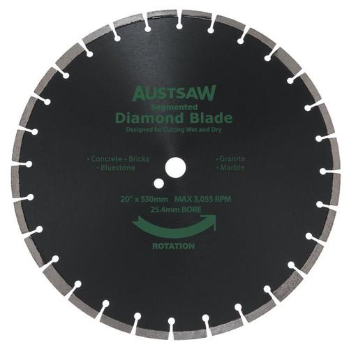 Diamond Blade 25.4mm Bore Austsaw 530mm (20in) Segmented General Purpose