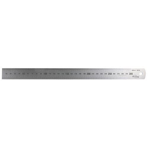 300mm/12in Matt Stainless Steel Rule Metric Imperial