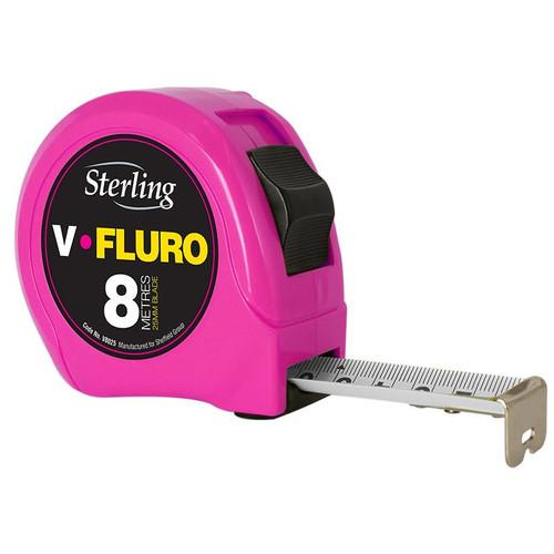8m x 25mm V-Force Fluro Measuring Tape