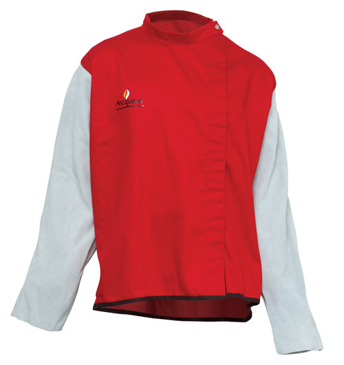 ARCGUARD FIRE RETARDANT WELDING JACKET WITH LEATHER SLEEVES