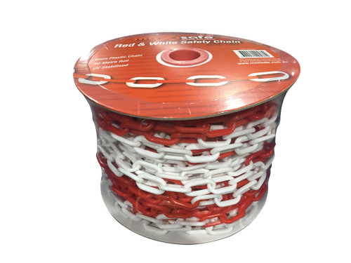 6MM X 40MTRS RED & WHITE SAFETY CHAIN