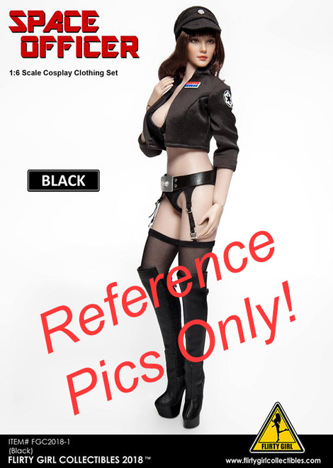 Female Space Officer - Black Stockings & Garter Belt - 1/6 Scale