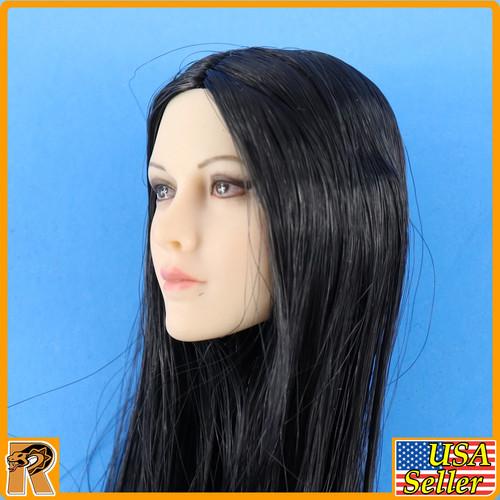 Anna Female Head - Black Straight Hair YM026A #1 - 1/6 Scale -