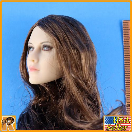 Anna Female Head - Brown Hair & Blue Eyes YM026D #4 - 1/6 Scale -