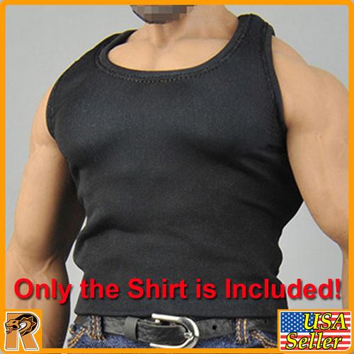 CEN-M08 - Mens Black Muscle Shirt #1 - 1/6 Scale -