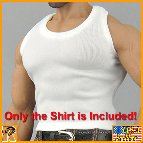 CEN-M08 - Mens White Muscle Shirt #2 - 1/6 Scale -