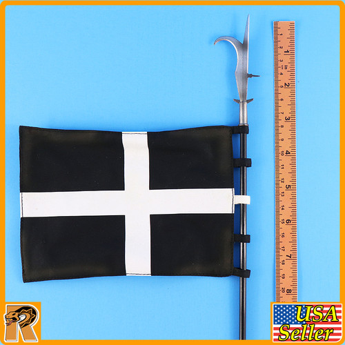 Crusader Knight Hospitaller - Black & White Cross Banner - 1/6 Scale -