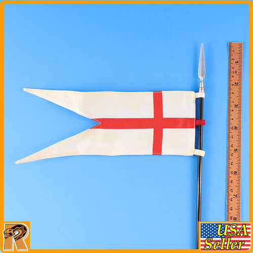 Crusader Knight Templar - White & Red Cross Banner - 1/6 Scale -