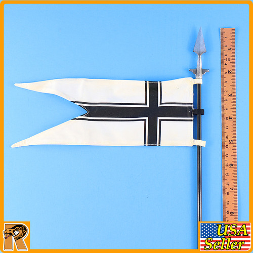 Crusader Knight Teutonic - White & Black Cross Banner - 1/6 Scale -
