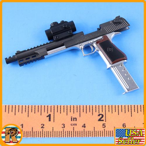 Desert Eagle Pistol - Silver & Black Modified w/ Scope #3 - 1/6 Scale -