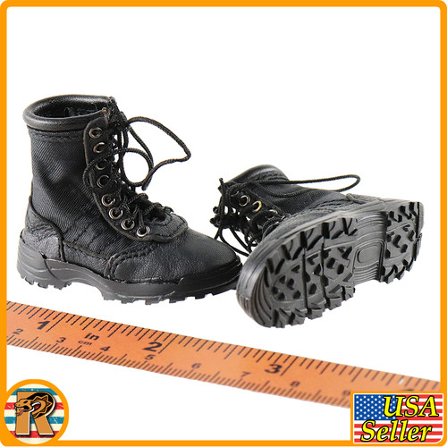 Tony Shield Disguise - Black Boots (for Feet) - 1/6 Scale -