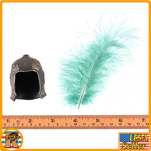 Qin Army Zhao Kuang - Metal Helmet w/ Feather - 1/6 Scale -