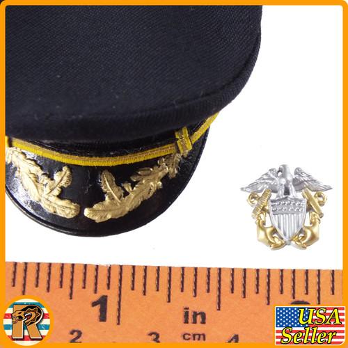 Navy Destroyer Commander - Officer Hat w/ Badge - 1/6 Scale -