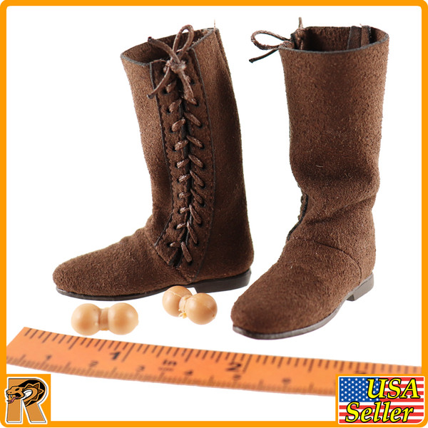 Chivalrous Robin Hood - Leather Boots w/ Pegs - 1/6 Scale -