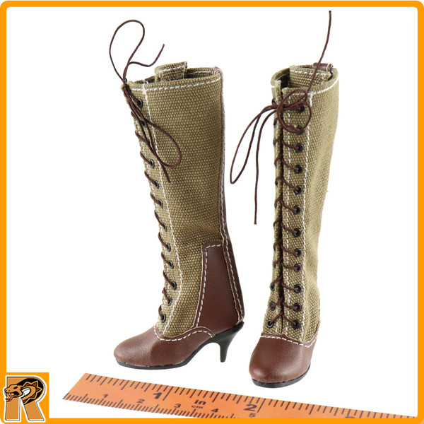 Afrika Female Officer - Tall Boots (for Feet) - 1/6 Scale -