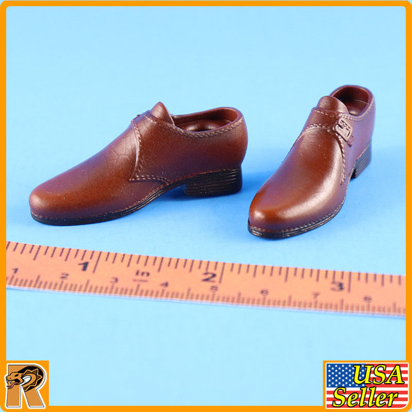 WWII US Army Officer A - Brown Dress Shoes - 1/6 Scale -