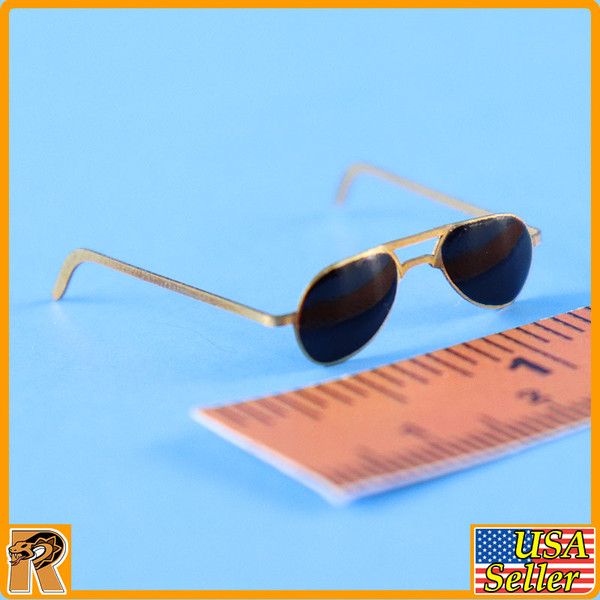 WWII US Army Officer A - Metal Sunglasses - 1/6 Scale -