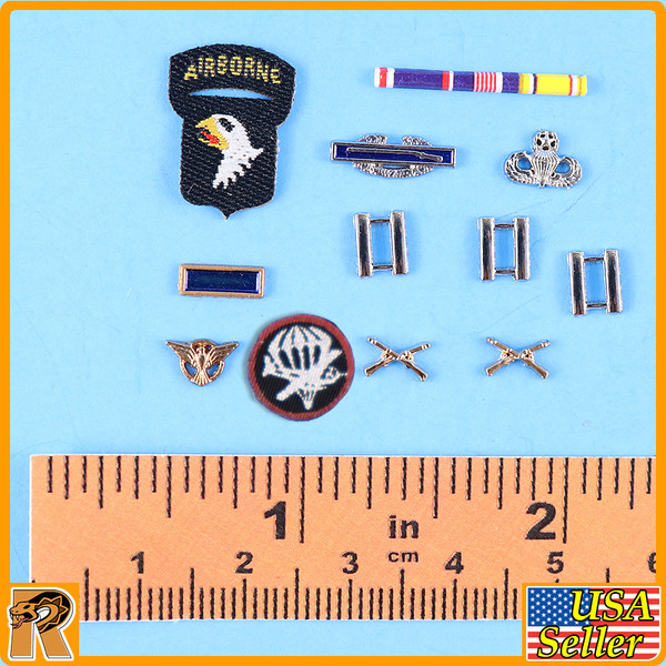 WWII US Army Officer B - Medals & Patches (Metal) - 1/6 Scale -